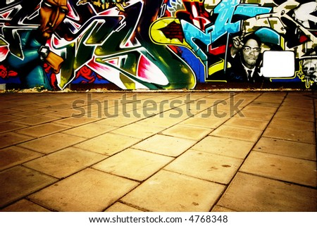 Wide angle shot of graffiti