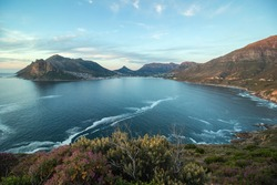 wide angle shot of Hout Bay taken from Chapmans Peak just after sunset