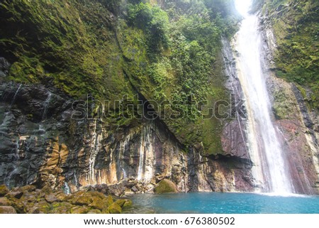 Wide Angle Shot of Las Gemelas Waterfall in Bajos del Toro, Costa Rica