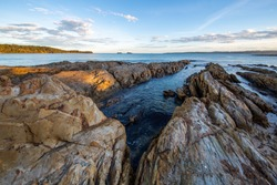 Wide Angle Shot of Rocky Beach Coastline looking out to the ocean at Bateman's Bay, NSW, Australia (Far South Coast of New South Wales).