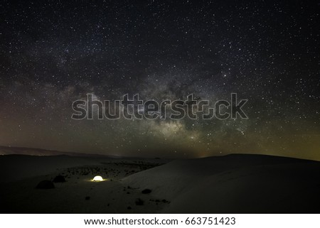 Wide angle shot of the Milky Way galaxy taken on a low moon night in April.  The location of our campsite was the White Sands National Monument, such a beautiful night under the stars.