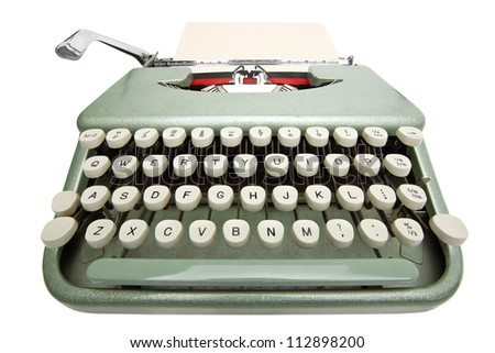 Wide angle shot of typewriter with sheet of paper. Isolated on white background with clipping path