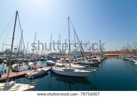 Wide angle shot of  yachts in Port Vell. Barcelona, Spain