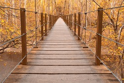 Wide-angle suspension bridge from the Orange Grove area of Patapsco Valley State Park near Baltimore, Maryland (USA). Processed with bright yellow colors int he foliage for a more surreal atmosphere.