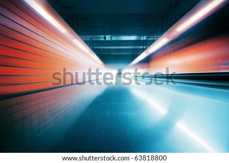 Wide Angle Tunnel Interior - stock photo