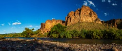 Wide Angle view along Salt River near Phoenix, AZ with Four Peaks in distance