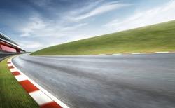 Wide angle view empty asphalt international curvy racetrack , motion blur effect apply . Daytime scene .