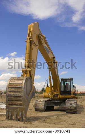 Wide angle view of a construction excavator