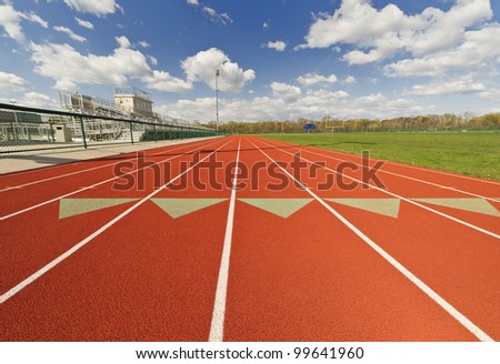 Wide Angle View of a Running Track