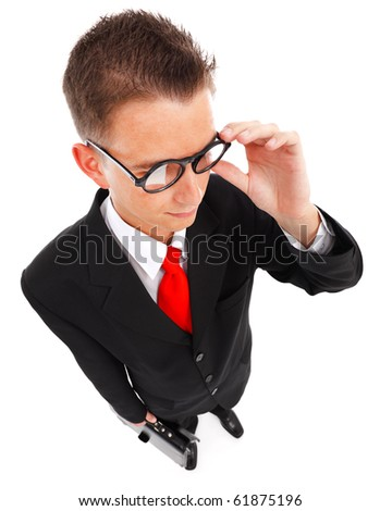 Wide angle view of a tax agent, business man or wise student with glasses and briefcase