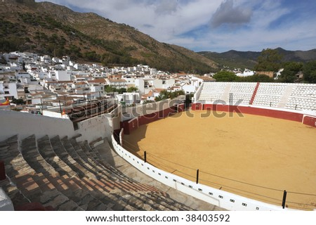 wide angle view of Bull ring at Mijas