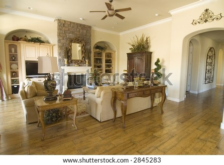 wide angle view of contemporary family room