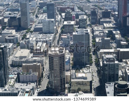 Wide angle view of downtown Los Angles during the day