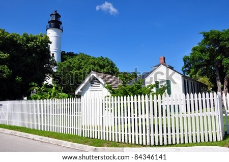 Wide Angle View of Historic Key West Lighthouse and Keeper's Quarters in Key West, Florida