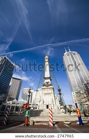 Wide angle view of Monument Circle in Indianapolis, IN. Vertical.
