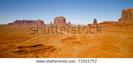 wide angle view of Monument Valley, Utah, USA