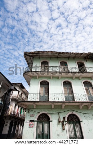 Wide angle view of old, decaying buildings in Casco Viejo. Panama City, Panama, Central America.