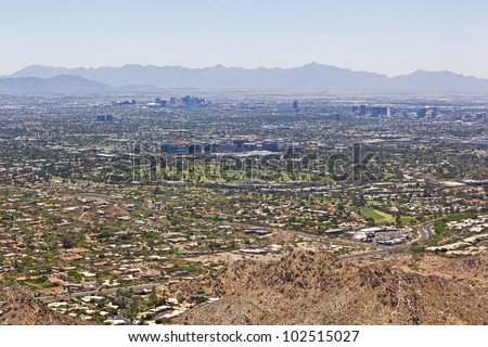Wide Angle view of Phoenix, Arizona Skyline looking from the northeast to the southwest
