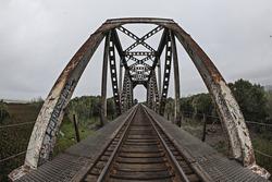 Wide angle view of railroad bridge