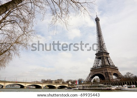Wide Angle View of The Eiffel Tower and Seine river in Paris, France