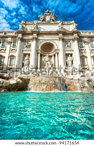 Wide angle view of The Famous Trevi Fountain, rome, Italy.
