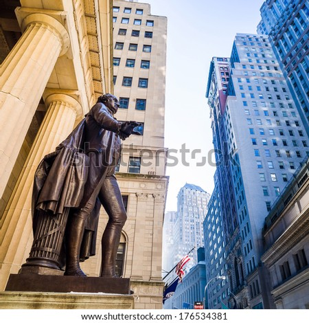 Wide-angle view of the New York Stock Exchange wall street