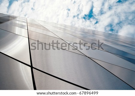 Wide angle view to a new modern building - stock photo