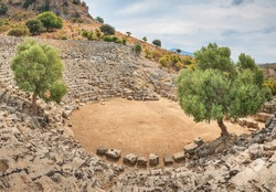 wide-angle view to the antique amphitheater under sky in summer day with two olive trees