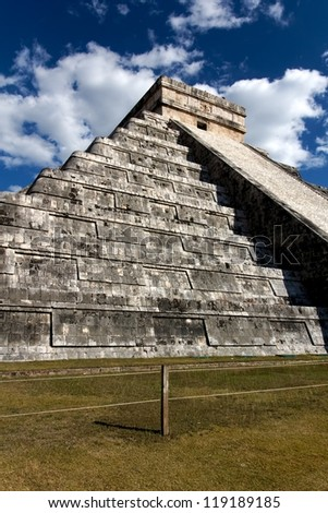 Wide-Angle view up the Mayan pyramid of Kukulkan at Chichen Itza, Yucatan, Mexico.