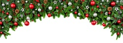 Wide arch shaped Christmas border isolated on white, composed of fresh fir branches and ornaments in red and silver