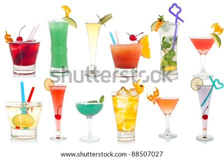 Wide assortment of freakish cocktails on a white background - stock photo