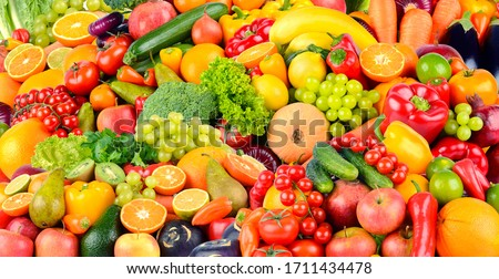 Wide background made of vegetables and fruits. Food concept. Top view