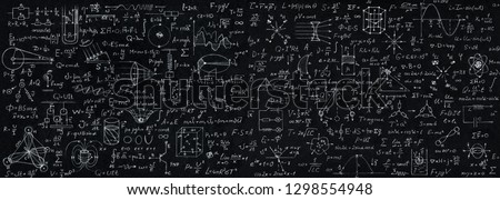 Wide blackboard inscribed with scientific formulas and calculations in physics, mathematics and electrical circuits. Science and education background.