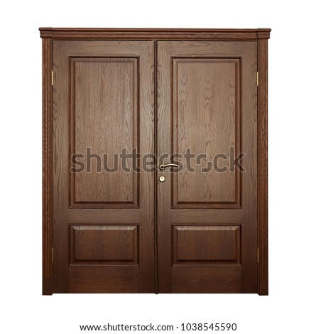 Wide closed brown door isolated on white background.