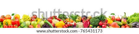 Wide collage of fresh fruits and vegetables for layout isolated on white background. Copy space - Shutterstock ID 765431173