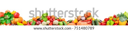 Wide collage of fresh fruits and vegetables for layout isolated on white background. Free space for text. - Shutterstock ID 751480789