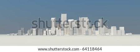 wide 3D cityscape model at daytime with a blue sky in the background - buildings are casting no shadows