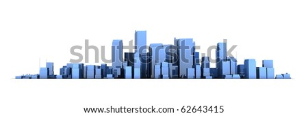 wide 3D cityscape model in shiny blue with a white background - buildings are casting no shadows