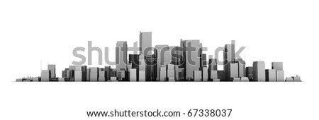 wide 3D cityscape model in shiny dark grey with a white background - buildings are casting no shadows