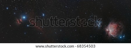 Wide Field View of the Horse Head and Flame and the Orion Nebula
