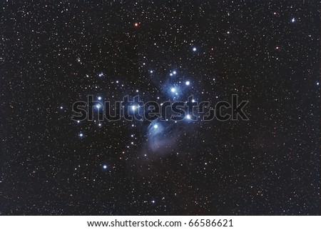 Wide field View of The Pleiades Cluster. The Seven Sisters - stock photo