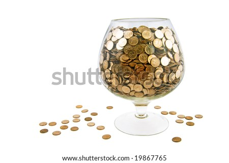 wide glass with money isolated on white
