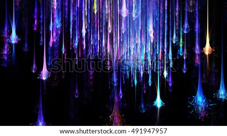 Wide   Glow Shooting Star Sky, Fireworks   Background - Fractal Art
