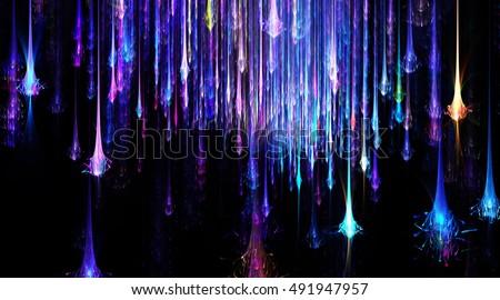 Wide   Glow Shooting Star Sky, Fireworks   Background - Fractal Art