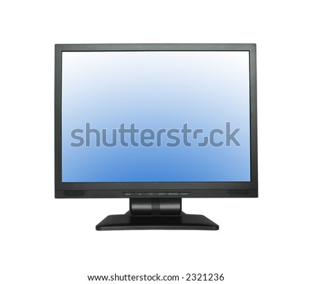 wide LCD screen isolated on pure white background