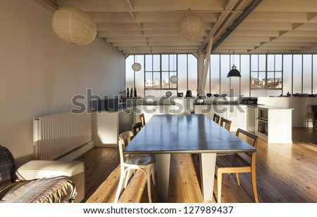 wide loft  beams and wooden...
