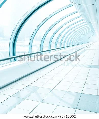 wide long futuristic corridor