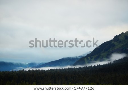 Wide Low Clouds over Forest - Turnagain Arm, Anchorage, Alaska, USA