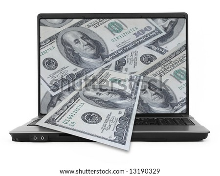 wide notebook with dollars on white, photo inside is my property - stock photo
