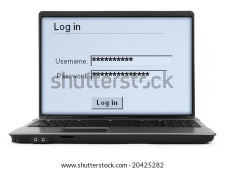 wide notebook with log in screen on white, gentle natural shadow in front